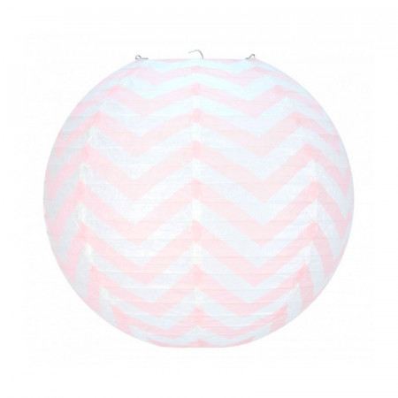 Pink and White Japanese Zigzag Lantern, 35 cm Chinese Chevron Ball Hanging Paper