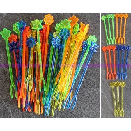 Lot de 80 Fourchettes à cocktail de 8,5 cm, Pique en plastique translucide coloré alimentaire