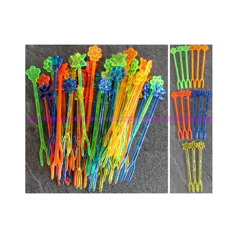 80x 8.5 cm long cocktail forks, Translucent colored plastic pick, for food