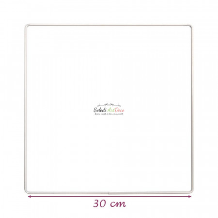 White metallic square 30 x 30 cm for lampshade, White epoxy Dream catcher