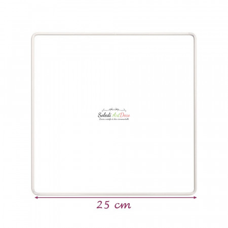 White metallic square 25 x 25 cm for lampshade, White epoxy Dream catcher