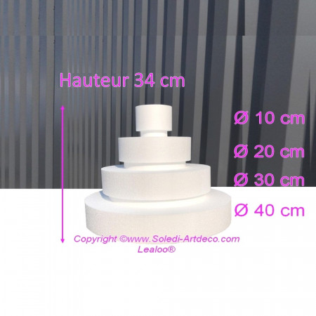 Small Polystyrene Disk Shape Dummy Wedding Cake, 34 cm total height, 40 cm base diameter, 4 dummies