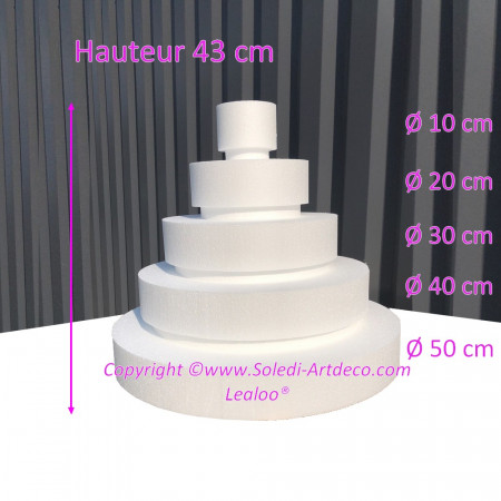Polystyrene Disk Shape Dummy Wedding Cake, 43 cm total height, 50 cm base diameter, 5 dummies