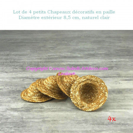 Set of 4 small decorative straw hats, outside diameter 8.5 cm, height 4 cm, Light natural