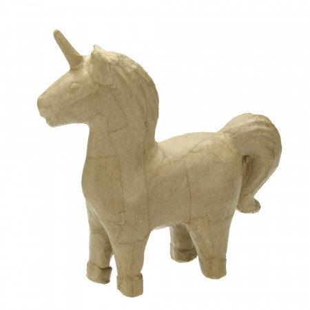 Unicorn in papier mache, 15 x 15 x 5 cm, horn horse to customize