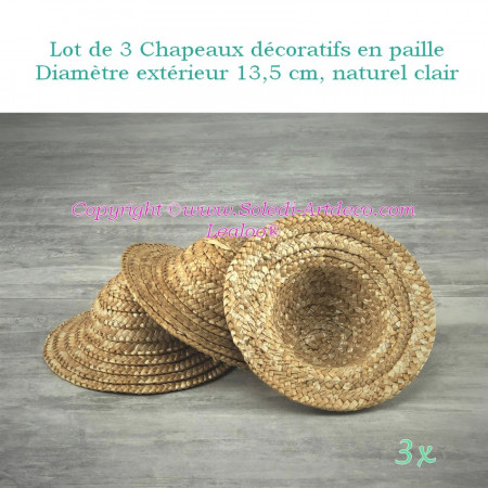 Set of 3 decorative straw hats, outside diameter 13.5 cm, height 6.8 cm, Light natural