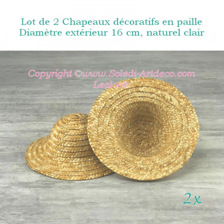 Set of 2 decorative straw hats, outside diameter 16 cm, height 7 cm, Light natural