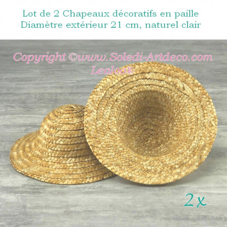 Set of 2 decorative straw hats, outside diameter 21 cm, height 9 cm, Light natural