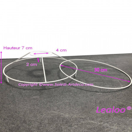 Set of frames with legs, diam. 30 cm for lampshade, Round rings epoxy white, for lamp holder 40mm E27