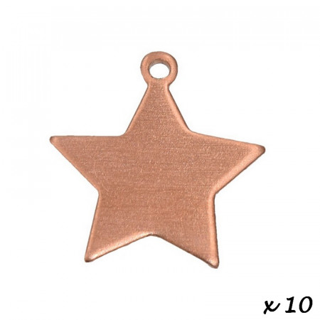 Lot of 10 Pendants, copper, Star, 1 hole, 17 x 20 mm, blank for enameling