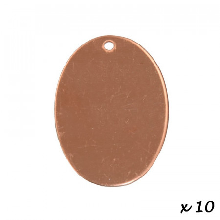 Lot of 10 pendants, copper, oval, 1 hole, 33 x 24 mm, blank for enameling