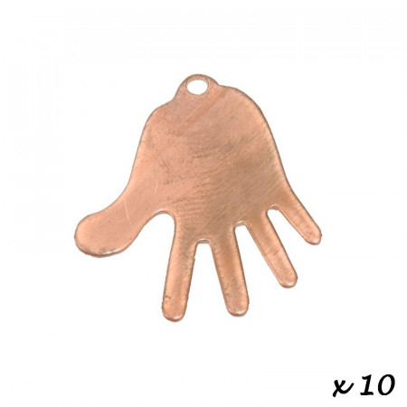 Lot of 10 Pendants, copper, Hand, 1 hole, 34 x 31 mm, blank for enameling