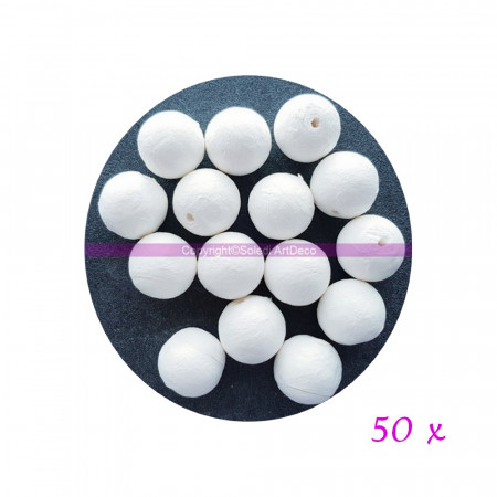 Pack of 50 balls of 3 cm in cellulose wadding, white balls in compressed cotton of 30mm with hanging hole