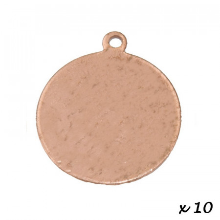 Lot of 10 Pendants, copper, Round, 1 hole, Ø 22 mm, blank for enameling