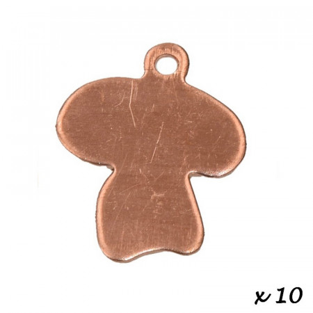 Lot of 10 Pendants, copper, Mushroom, 1 hole, 17 x 16 mm, blank for enameling