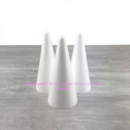 Set of 3 polystyrene cones, 20 cm high, high density