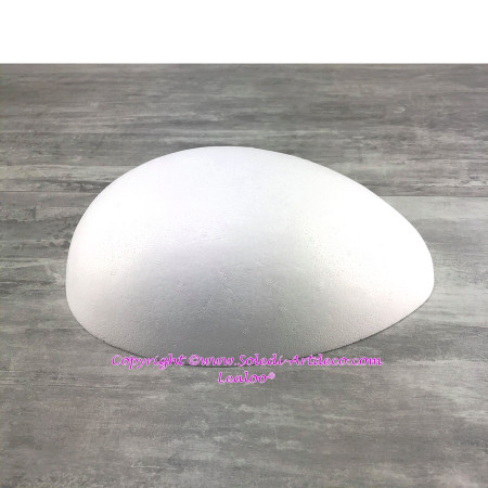 Half Egg 30 cm long, Hollow polystyrene dome 10 cm high, wall thickness 20mm, high density