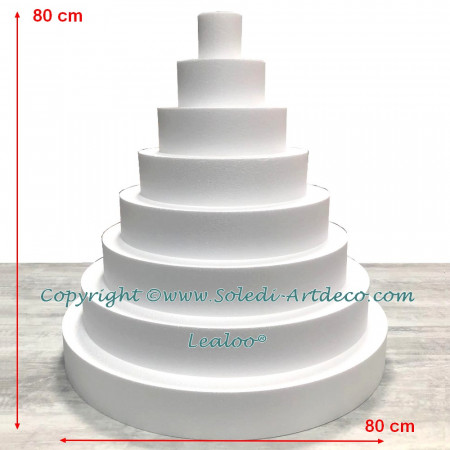 Polystyrene Disk Shape Dummy Wedding Cake, 80 cm total height, 80 cm base diameter, high density