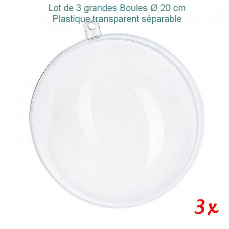 3x Transparent plastic ball, separable, diameter 20cm, for self-filling