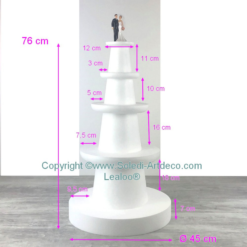 Styrofoam display, 4 floors in styrofoam, base diameter 45 cm, 76 cm high for wedding cake