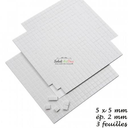 Set of 3 sheets Adhesive square dots, 3D, 5 x 5 x 2 mm, 1680 pieces, white pads