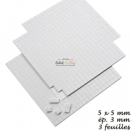 Set of 3 sheets Adhesive square dots, 3D, 5 x 5 x 3 mm, 1680 pieces, white pads