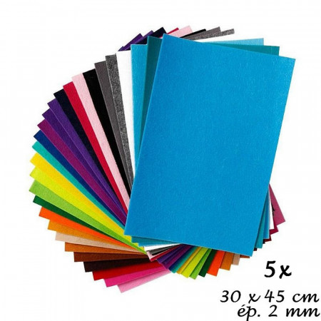 Lot of 5 Felt sheets for decorations, 30 x 45 cm x 2 mm, 350 g/m²