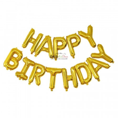 Lot of 13 letters Balloons Happy Birthday, Color Gold aluminum, 305 x 35 cm