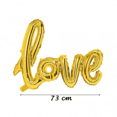 Golden Love balloon, in aluminum, size 73 x 57 cm, metallic mylar decoration
