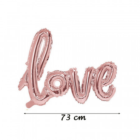 Rose gold Love balloon, in aluminum, size 73 x 57 cm, metallic mylar decoration