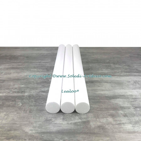 Lot of 3 cylinders diam. 6 cm x height. 80 cm, in polystyrene, Columns in white Styropor for display