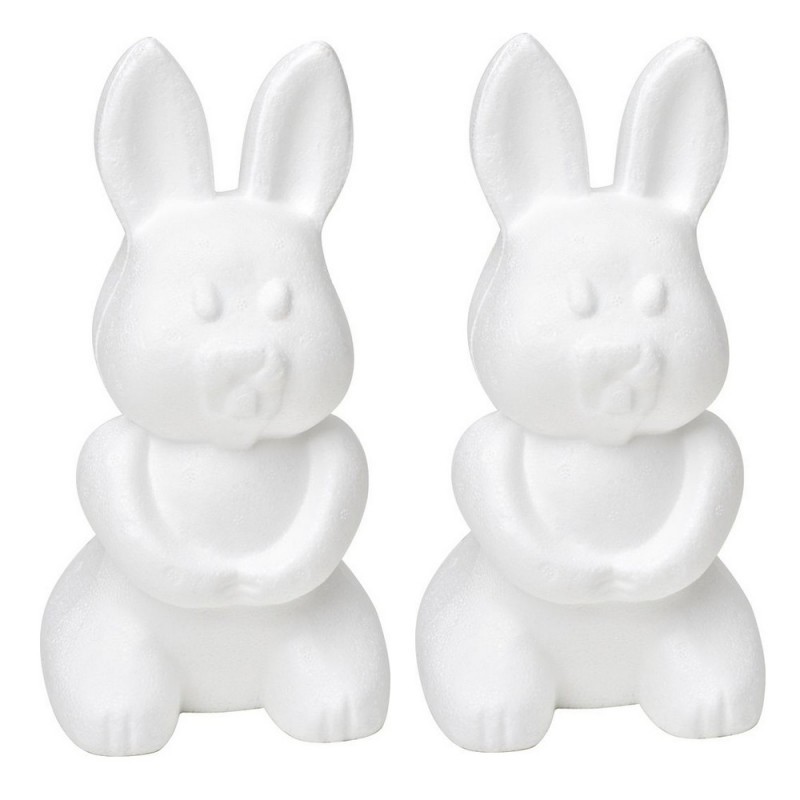 Set of 2 Polystyrene form rabbit, sitting, height 24cm, high density