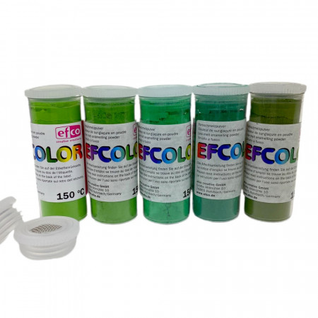 Set of 5 Efcolor powder colors, 10 ml, green color chart, 2 sieves, for cold enamelling, baking at 150 ° C