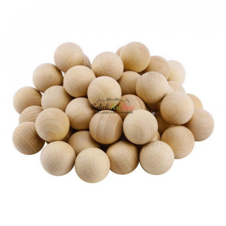 Big Lot of 500 Solid wooden balls, Diameter 30 mm, untreated beech wood, undrilled