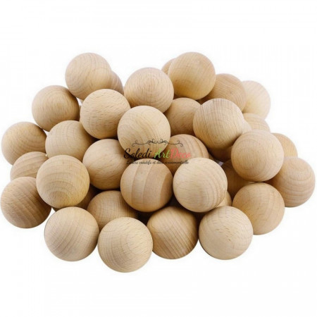 Big Lot of 250 Solid wooden balls, Ø 35 mm, untreated beech wood, undrilled