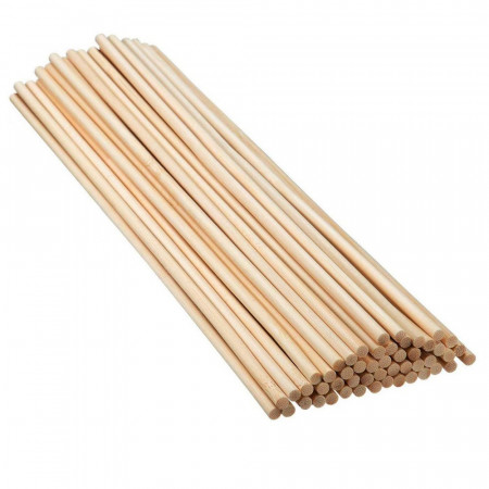 Set of 50 round rods, Trunnion in smooth beech wood, diameter 8 mm, rod 1 m long
