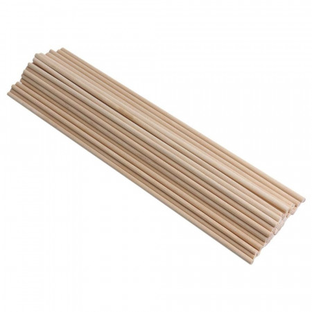 Set of 50 round rods, Trunnion in smooth beech wood, diameter 6 mm, rod 1 m long