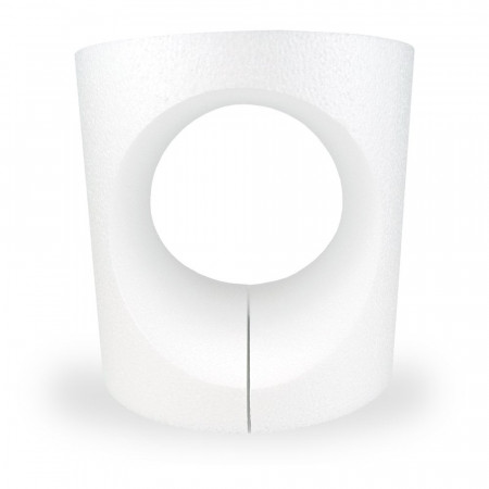 Polystyrene support round opening, 15 x 15 cm, hollow interior, cut out 2 parts