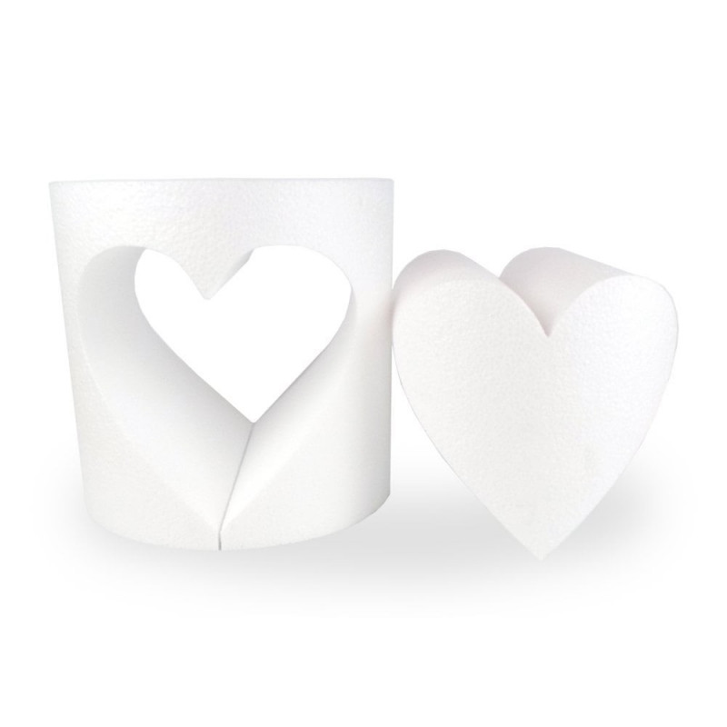 Polystyrene support heart cake dummy opening, 15 x 15 cm, hollow interior, cut out 2 parts