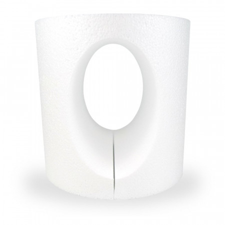 Polystyrene support oval cake dummy opening, 15 x 15 cm, hollow interior, cut out 2 parts