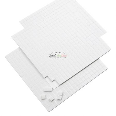 Set of 3 sheets Adhesive square dots, 3D, 5 x 5 x 1 mm, 1680 pieces, white pads
