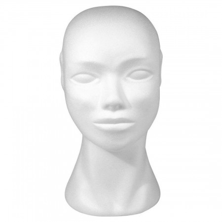 Woman's head 29 cm in white polystyrene, Female mannequin sculpture in Styropor to decorate
