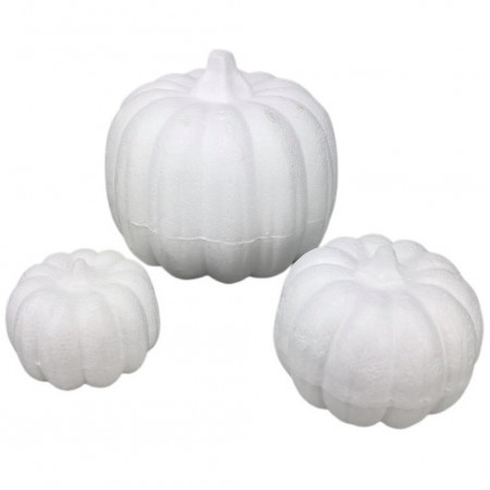 3 polystyrene pumpkins, dim. 4cm, 7cm, 11cm, autumn vegetables to customize for Halloween