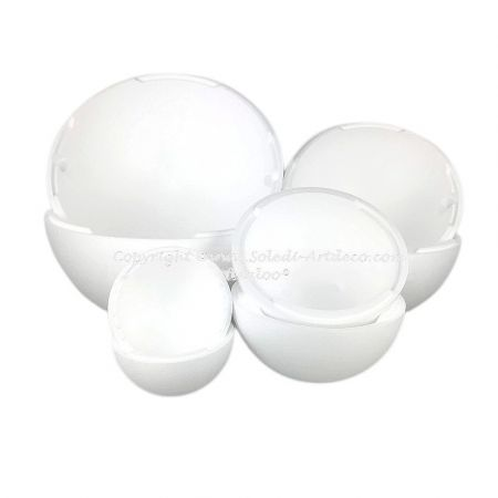 Set of 4 large separable polystyrene balls diameter 20, 30, 40 and 50 cm, Hollow sect spheres Styropor white density pro