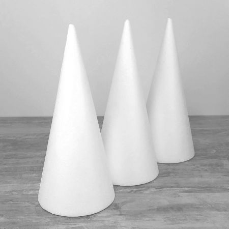 Set of 3 polystyrene cones 40cm high, Base diameter 18cm, white