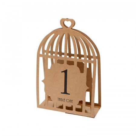 Kraft Wedding Table Numbers 1-15 - Laser Bird Cage