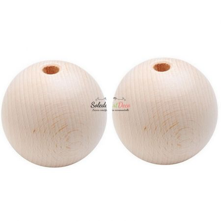 Set of 2 big drilled balls made of beech wood, diameter 80 mm, hole 10 mm