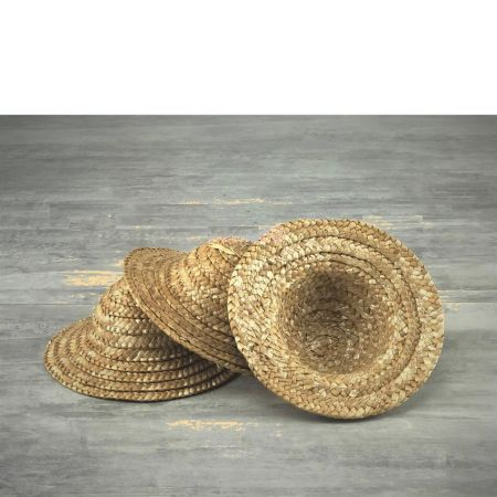 Set of 3 decorative straw hats, outside diameter 11.5 cm, height 6 cm, Light natural