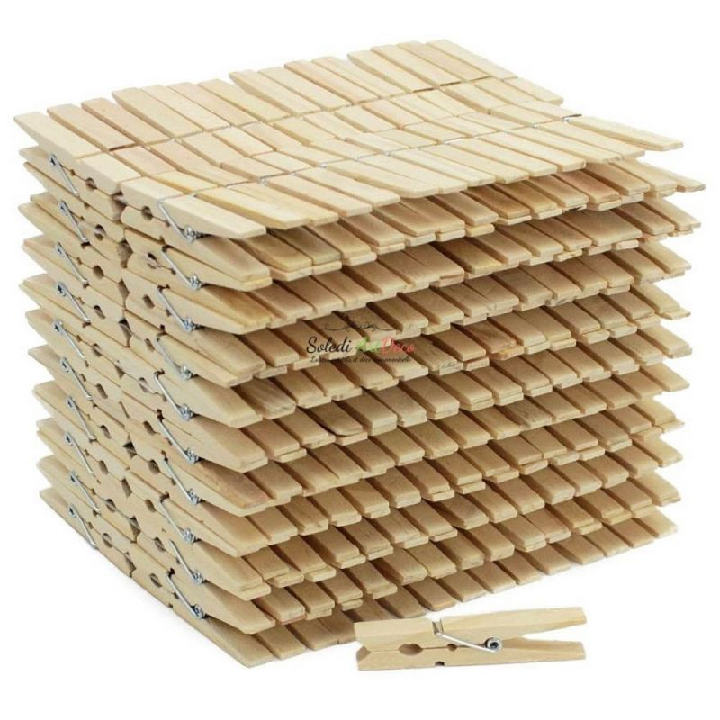 Set of 1000 wooden clothespins, untreated, 7cm x 1cm