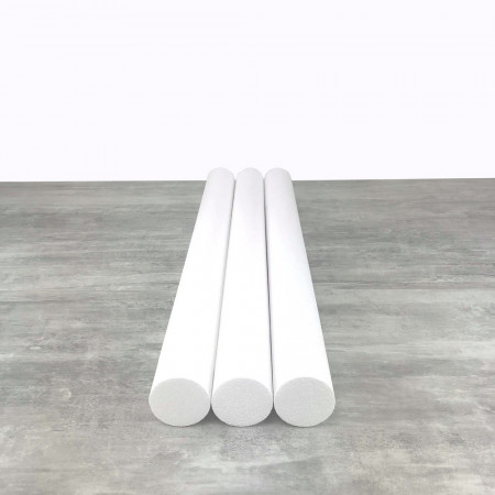 Lot of 3 cylinders diam. 7 cm x height. 80 cm, in polystyrene, Columns in white Styropor for display